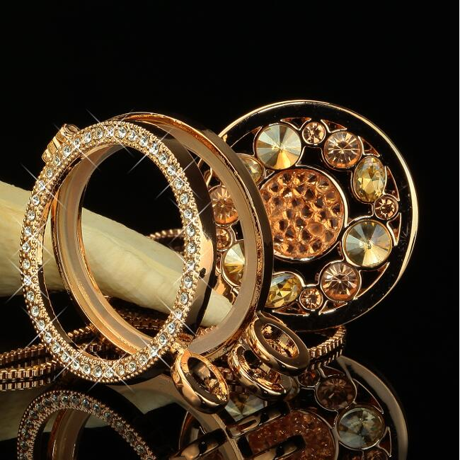 Damen Anhänger Medallion Ø  3 Halskette Zirkonia 750er Gold 18K vergoldet A2554S