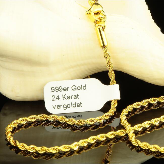 kordelkette 2 5 mm 999er gold 24 karat vergoldet damen. Black Bedroom Furniture Sets. Home Design Ideas