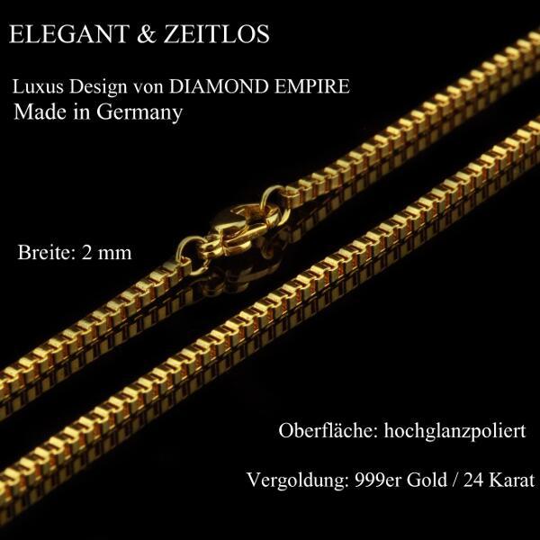 Himbeerkette 2 mm 999er Gold 24 Karat vergoldet Damen Herren gelbgold K2869