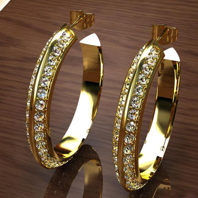 Ohrringe Creolen Zirkonia weiss  3,3 cm Ø  750er Gold 18 Karat vergoldet O1173