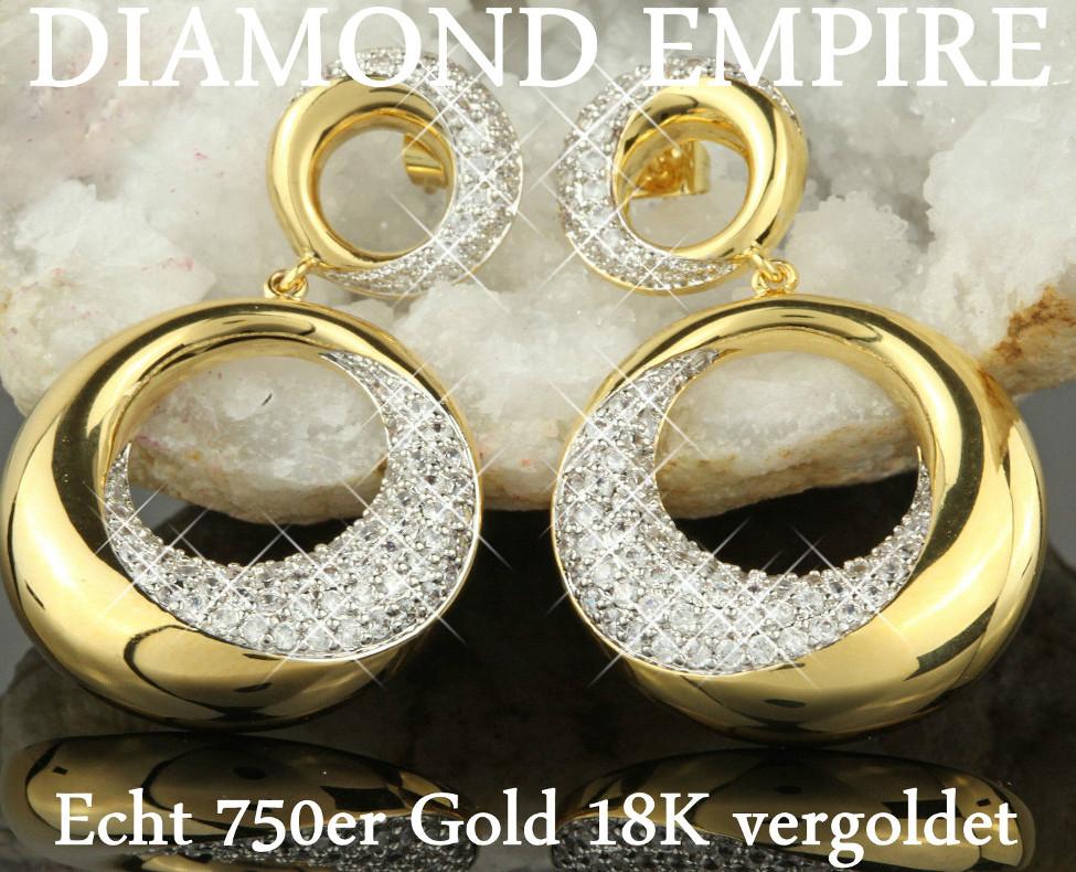 Ohrringe Ohrstecker Hänger Zirkonia weiss 750er Gold 18 Karat vergoldet O1472S