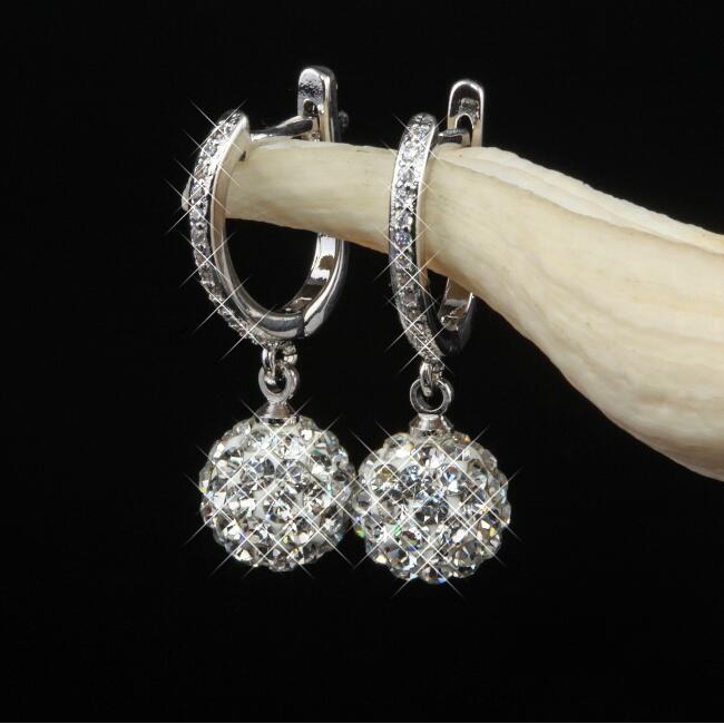 pendientes, creolen, regalo, blanco 1 par de acero inoxidable aretes Weiss cristal