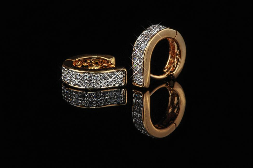 Ohrringe Creolen Zirkonia weiß 750er Gold 18 Karat vergoldet rosegold O1591