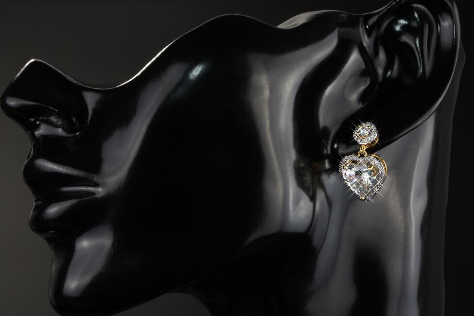 Herz Ohrringe Ohrstecker Zirkonia Herz Weiss 750er Gold 18K vergoldet O1798S