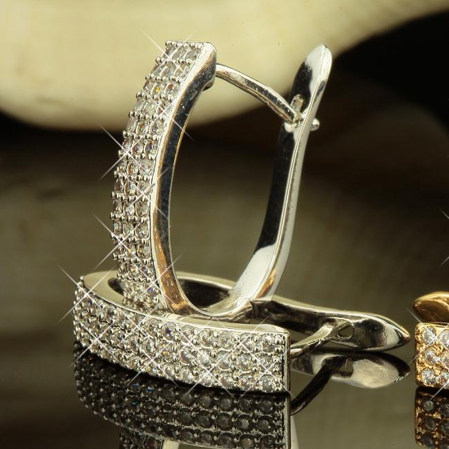 Sonstige Uhren & Schmuck Ohrringe Creolen Zirkonia Weiss Echt 750 Gold 18 Karat Vergoldet Gelbgold O2054