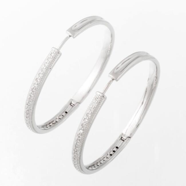 Schicke Ohrringe Creolen Edelstahl Silber Farbe Zirkonia klar Brillantschliff