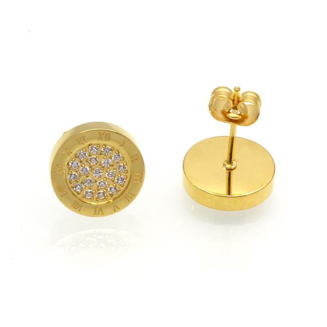 Luxus Ohrringe 10 mm Zirkonia weiß 750er Gold 18K vergoldet Farbe wählbar O3023