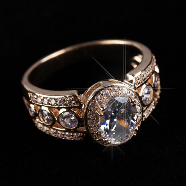 Lujo señora anillo circonita Weiss 750 Gold 18 quilates dorado Rosegold r2534