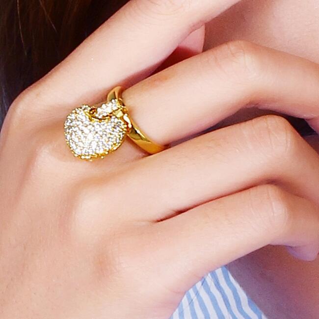 Damenring Zirkonia weiß Edelstahl 999er Gold 24 Karat vergoldet Dubai R3115