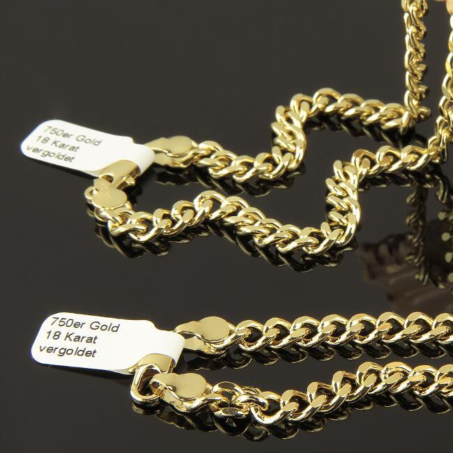 Schmuckset Set Panzerkette Armband 8 mm 750er Gold vergoldet  UVP 190€ S1892
