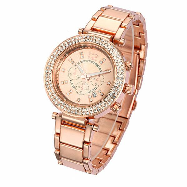 damenuhr rosegold strass kristallen armbanduhr geschenk uvp 59 u1238 ebay. Black Bedroom Furniture Sets. Home Design Ideas
